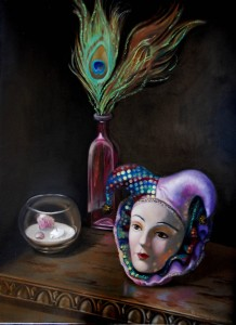 "Still life with peacock feathers, mask, and shells, 12x18"" oil on panel"