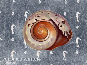 "8x10"" oil painting of a shell on aluminum panel"
