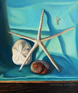 "Still life with shells, approx 23x24"", oil on canvas"