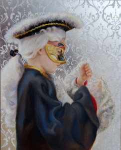 Venetian Boy, original oil painting on panel. aluminum leaf, 8x10""