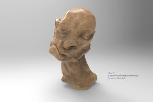 'Bust 2' Digital Sculpture Instalation Sculptris Alpha 6  & Keyshot Rendering 2014