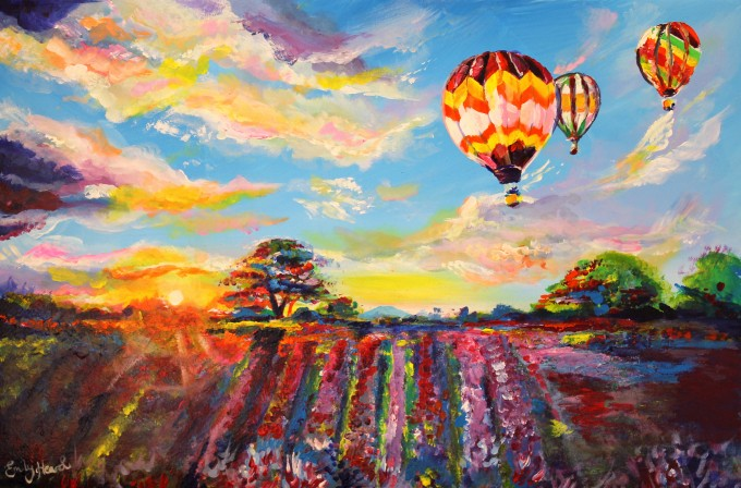 hot air balloon art, landscape painting, uk artist, contemporary impressionism