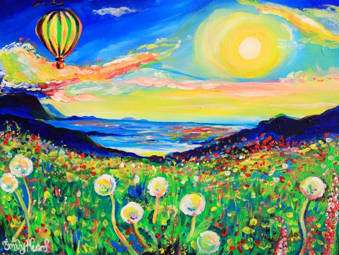 hot air balloon art, hot air balloon painting, colourful art
