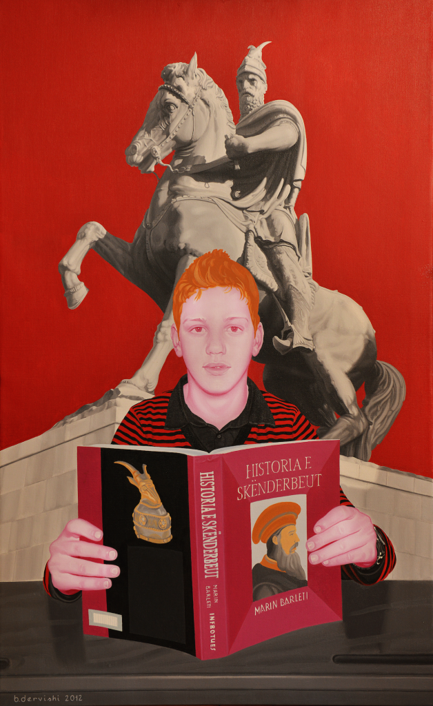 Inheritance of the best values of my nation which during the Skanderbeg time period served as a shield for all Europe during the Ottoman invasion is the subject of this portrait. A teenager stands between the book and the hero. The nuance of the red national color is dominant.