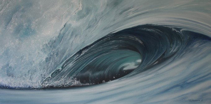 Waves 64   oil on canvas   80 x 40 cm