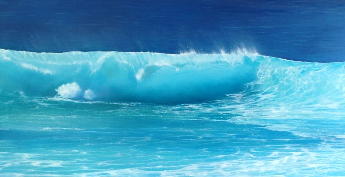 Wave 66  oil on canvas  140 x 50 cm