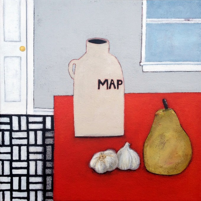 Langholtz, Gabe, An Unlikely Pear, 12x12, acrylic & charcoal pencil on canvas