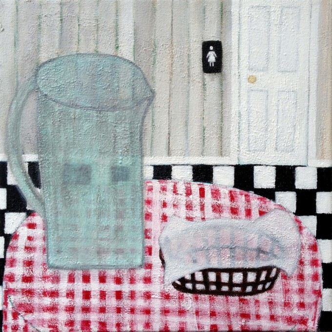 Langholtz, Gabe, Eatery, 12x12, mixed media on canvas
