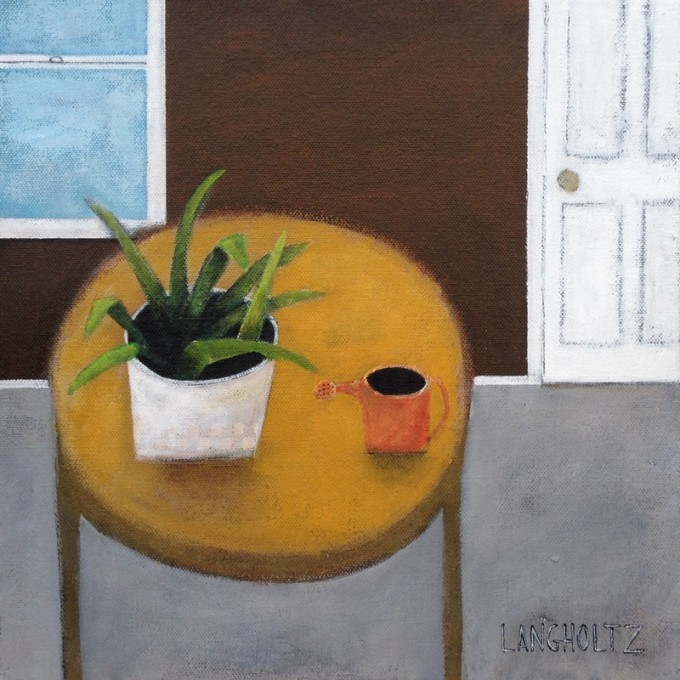 House Plant 12x12 Acrylic & Charcoal Pencil on Canvas 2015