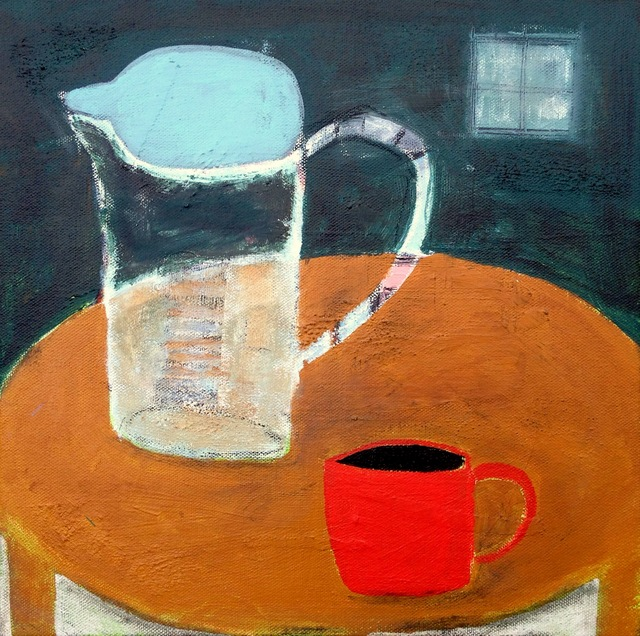 Langholtz, Gabe, Red Mug, 12x12, mixed media on canvas