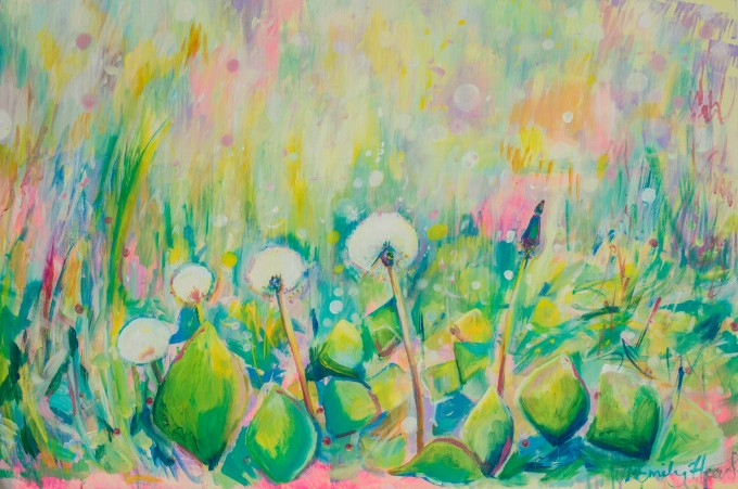 abstract art, dandelion painting, colorful painting