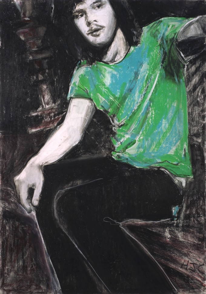 Charcoal pastel with gesso