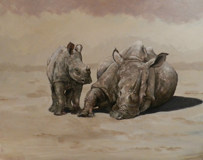 Mother and Baby Rhino - Robert Teeling - www.robteelingart.com -DSCN5790