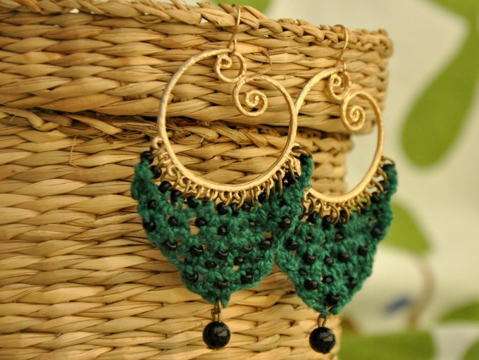 Forest green chandelier earrings