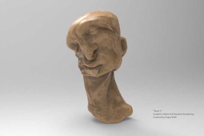 'Bust 1' Digital Sculpture Instalation Sculptris Alpha 6 & Keyshot Rendering 2014