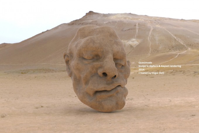 'Qua's Head in Desert' Digital Sculpture Instalation Sculptris Alpha 6 & Keyshot Rendering 2014