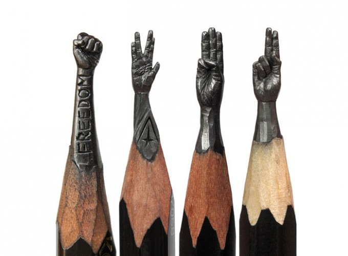 Micro sculptures into pencils lead art people gallery