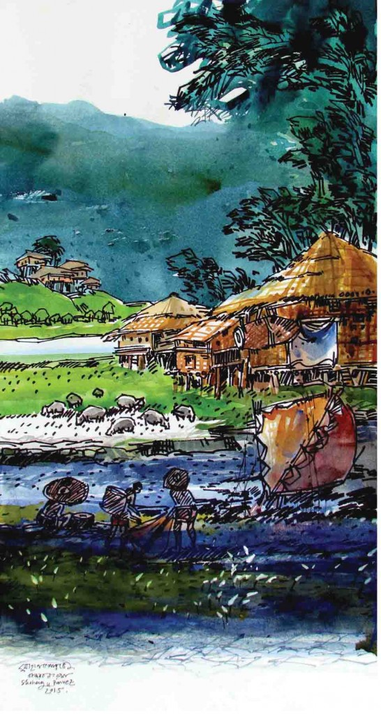 BANDAERBAN . 65X 30CM 30.000 WATER COLOR ON PAPER . 2015