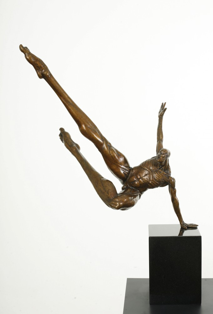 Donald Liardi at Skelly Gallery phone 613 674 2987, LEAPING MAN (Large Version), 1997, 30 inches, $ 9200, 9 left. Photo by Nik Schnell