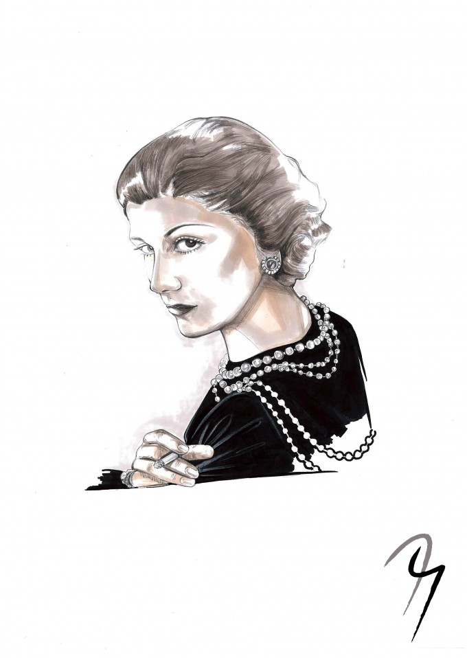 Coco Chanel, Fashion Illustration by Nejla Yilmaztürk