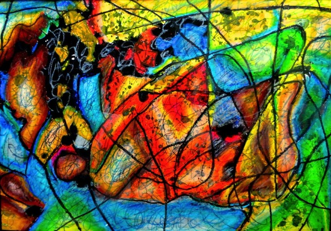 Lee_C. Kenneth_Map_2012_tempera and oil pastel on paper(with frame)(h)29.7x(w)42cm_