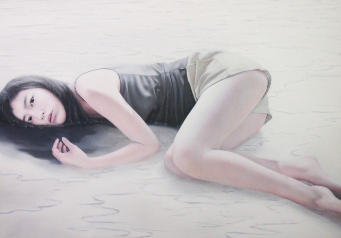 Girl in the White Lake part VIII (85x120-cm-oil-on-canvas)