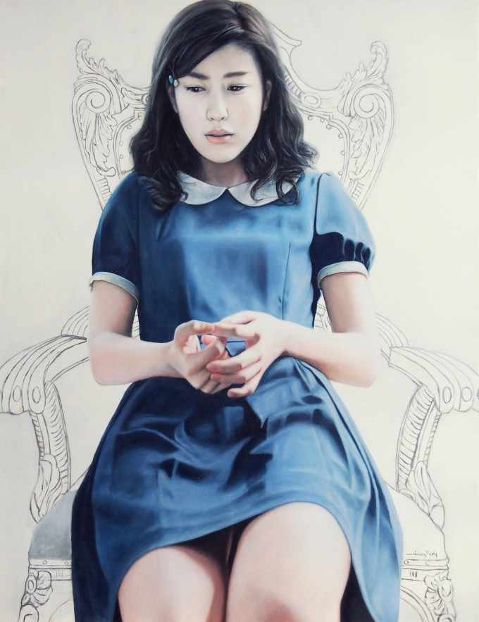 Girl on the White Throne (90x70-cm-oil-on-Linen)