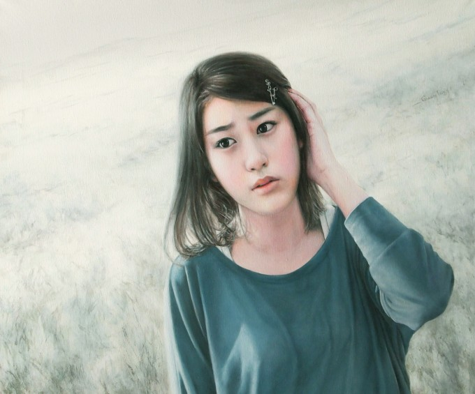 Girl in the White Plain (50x60 cm, oil on-cavas)