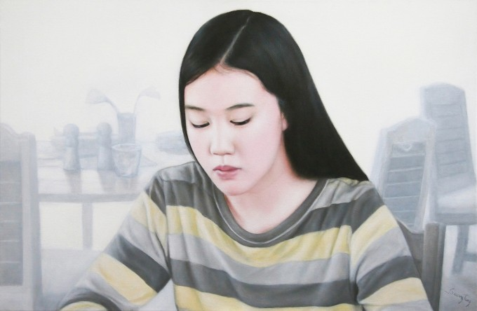 Girl in the White Bistro (40x60 cm-oil on canvas)