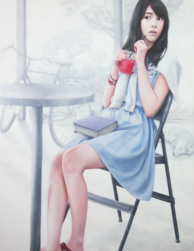 Girl with a Red Glass in the White Place (90x70 cm, Oil on Linen)