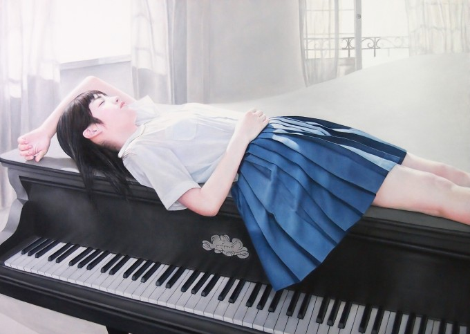 Girl lies on the piano (100x150 cm, oil on canvas)