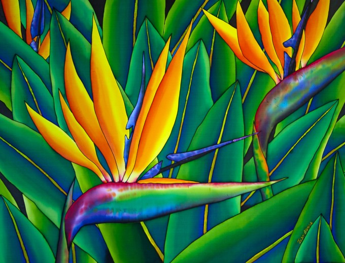 "TITLE:  Bird of Paradise SIZE:  30"" x 40"" MEDIUM: Hand-Painted Silk"