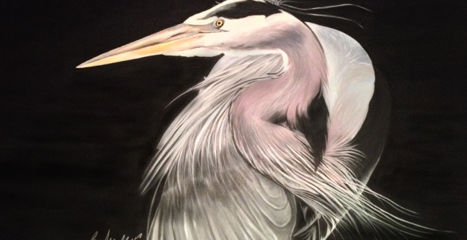 Blue heron on Canvas Freehand painted by Barbara Andrews