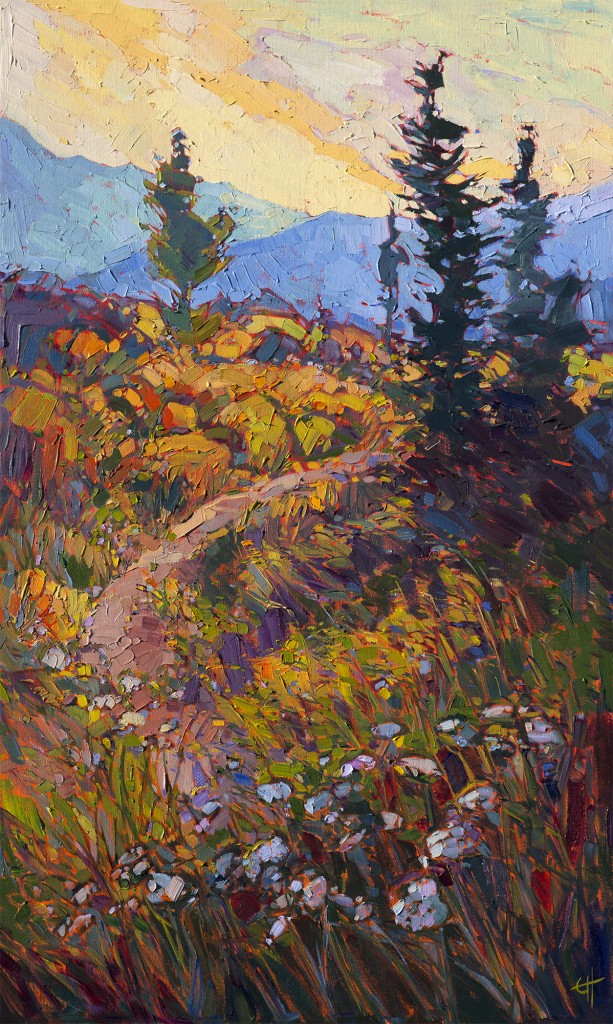 Sunset Wildflowers Impressionistic Landscape