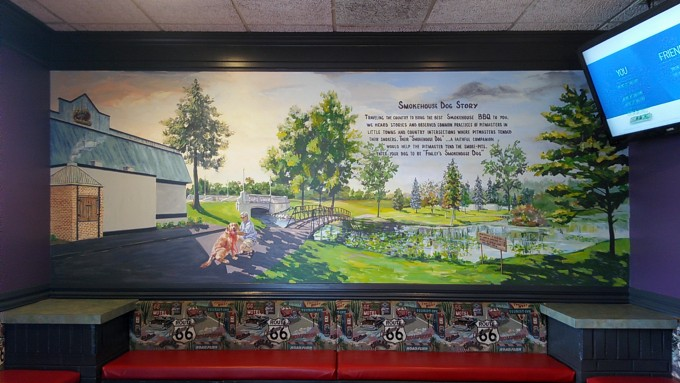 finley's grill and smokehouse, 3d illusion, window mural, trompe l'oeil mural, free hand mural,