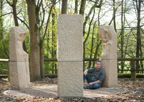 Joseph Hayton with his stone statues, Pillars Past, Pateley Bridge, North Yorkshire