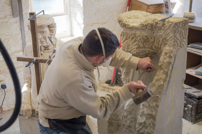 Joseph Hayton working on his project, Pillars Past to be erected in Pateley Bridge as part of a series of art installationss along the Way of the Roses Cycle route from Morecambe Bay to Bridlington