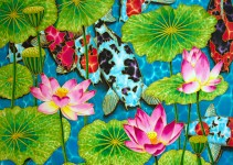 "TITLE:  Lotus & Koi SIZE:  30"" x 40"" MEDIUM: Hand-Painted Silk"