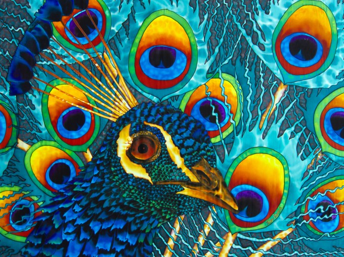 "TITLE: Insane Peacock SIZE: 30"" x 40"" MEDIUM: Hand-Painted Silk"