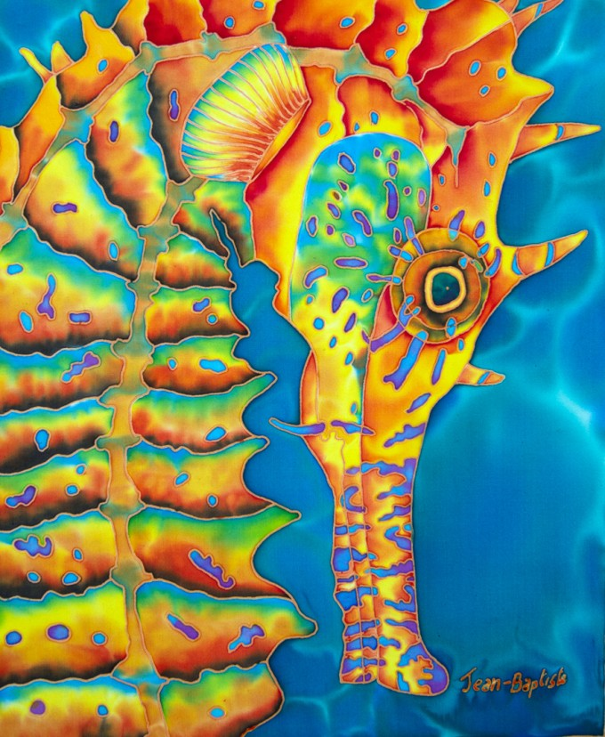 "TITLE: Seahorse SIZE: 15"" x 12"" MEDIUM: Hand-Painted Silk"
