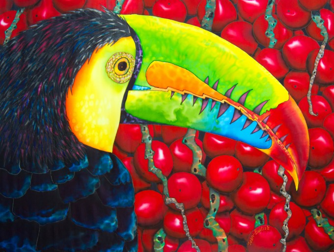 "TITLE:  Rainbow Toucan SIZE:   30"" x 40"" MEDIUM: Hand-Painted Silk"