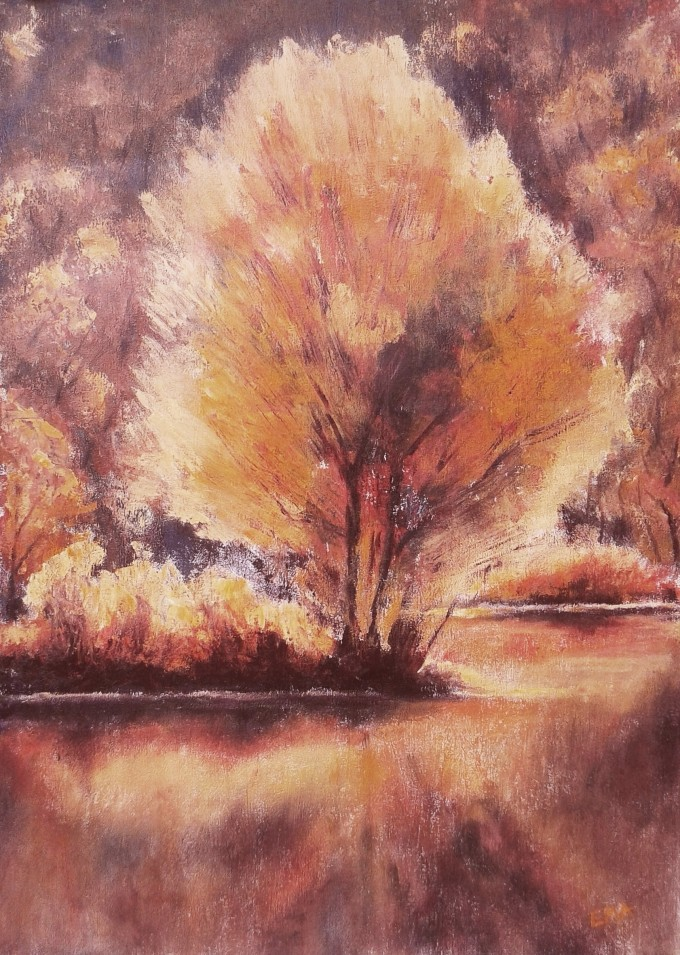 Original landscape painting of a tree in autumn colours by the lake
