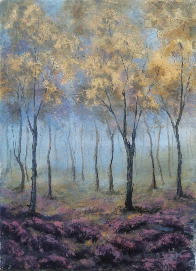 Original landscape painting of a misty forest with blooming glade