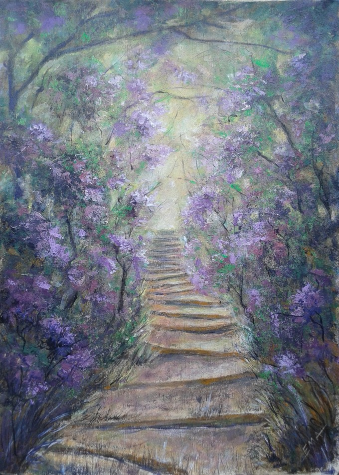 Original painting of a path in a blooming forest