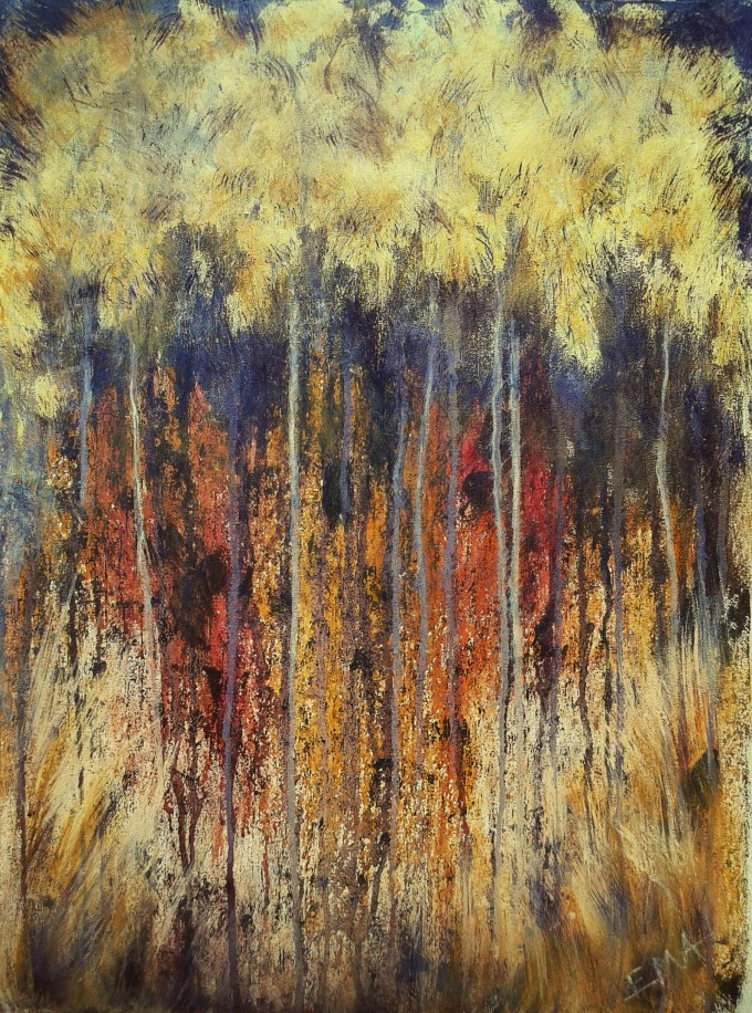 Original landscape painting of a dry forest