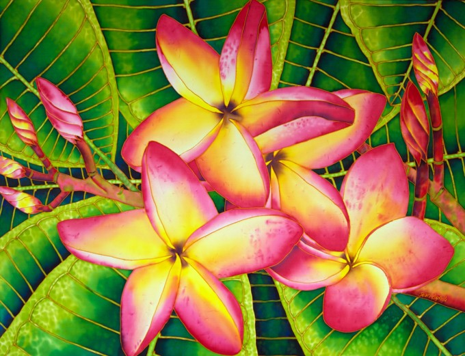 "TITLE:  Frangipani SIZE:  30"" x 40"" MEDIUM: Hand-Painted Silk"