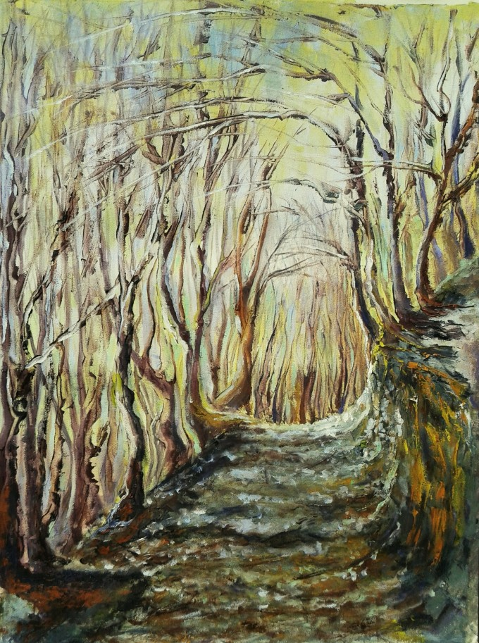 Original oila landscape painting of a path in the forest
