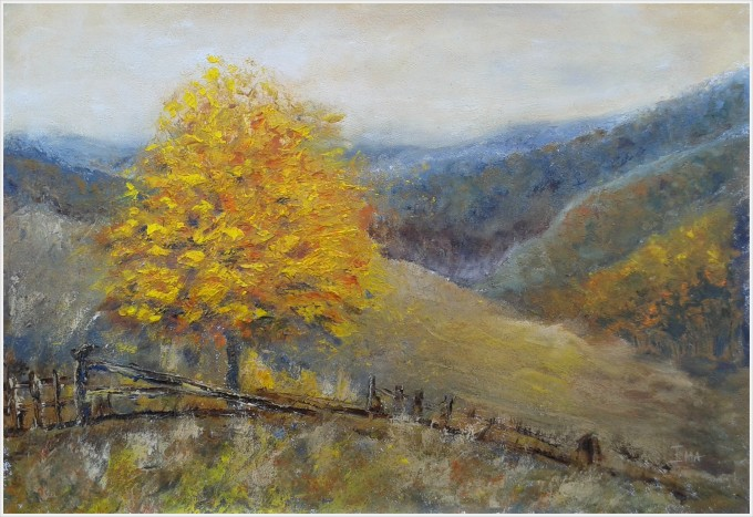 Original oil landscape painting of an autumn tree and hills