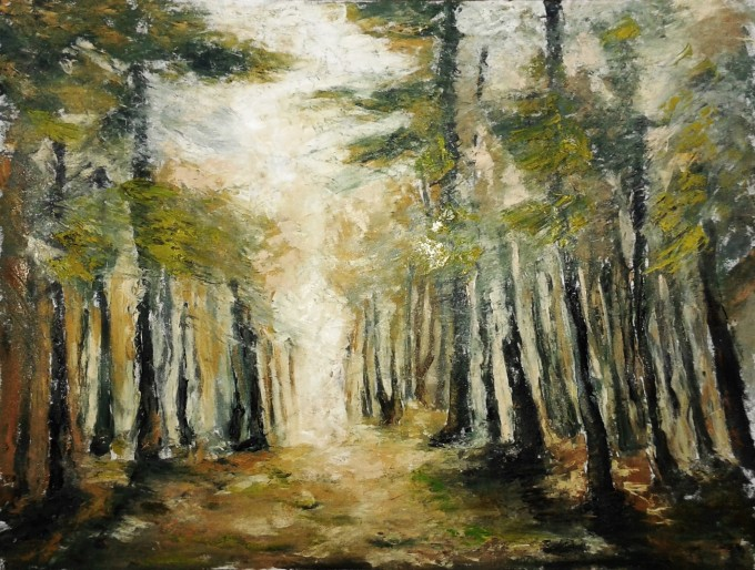 Original landscape oil painting of a pine forest