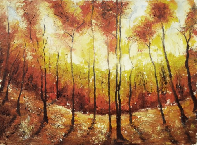 Original landscape oil painting of an autumn forest at sunrise